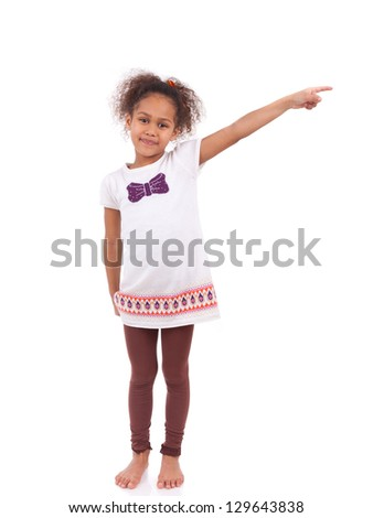 African Asian girl pointing something, isolated on white background - stock photo