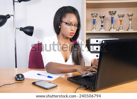 african attractive business woman  - stock photo