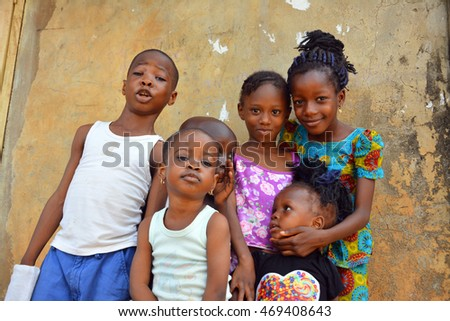 AFRICAN - 15 AUGUST 2016: Young vibrant Nigerian children comes out for a portrait session on 15 AUGUST 2016.