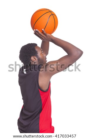 African basketball player from the back, isolated on white background