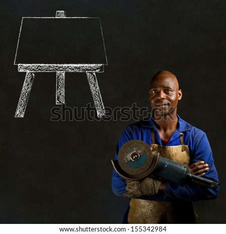 African black man industrial worker with chalk easel on blackboard background - stock photo