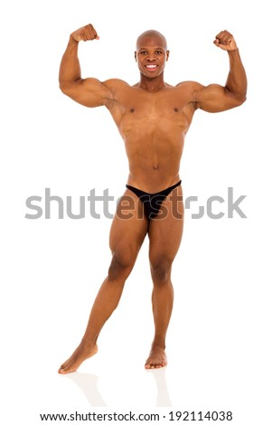 african bodybuilder flexing muscle isolated on white background - stock photo