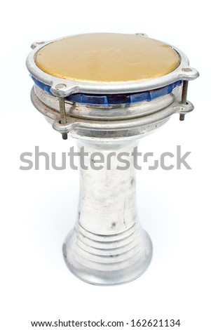 African bongo drum isolated on white - stock photo