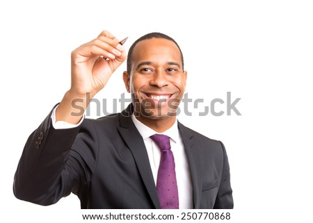 African business man drawing on whiteboard, isolated over white - stock photo