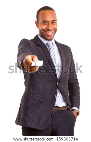 African business man offering greeting card, isolated over white - stock photo