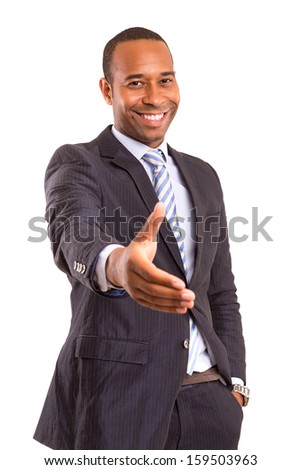 African business man offering handshake, isolated over white background