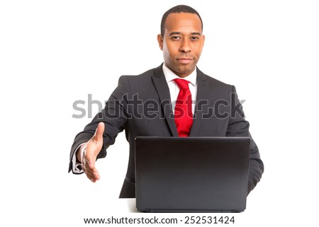 African business man offering handshake, isolated over white background - stock photo