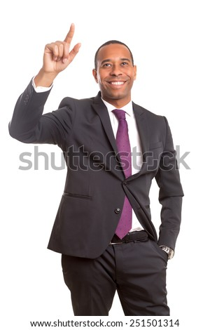 African business man pressing key, isolated over white - stock photo