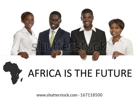 "African Business People ""Africa is the future"", Studio Shot - stock photo"