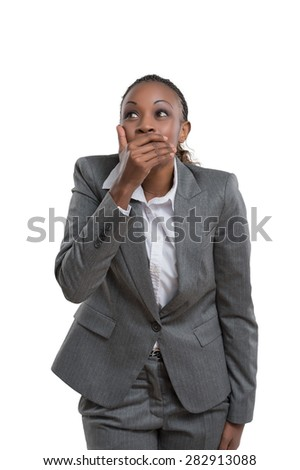 African business woman laughing isolated on white background - stock photo
