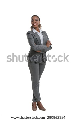 African business woman portrait. Crossed arms. Isolated