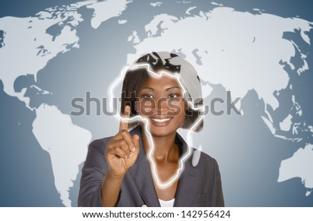 African business woman, social network - stock photo