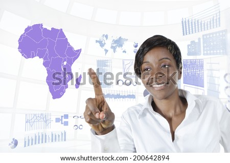 African business woman working in virtual environment, Studio Shot - stock photo