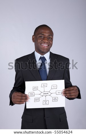 african businessman holding a website diagram solution - stock photo