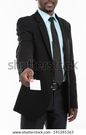 African Businessman holding blank business card