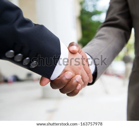 African businessman's hand shaking white businessman's hand  making a business deal. - stock photo