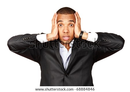 African businessman screaming with fear and a strange face expression (isolated on white)