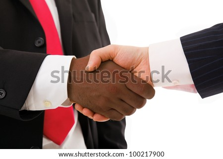 African businessman shaking hands with white one