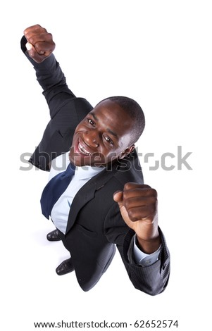 African businessman showing his success looking up (isolated on white) - stock photo