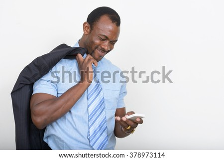 African businessman using mobile phone