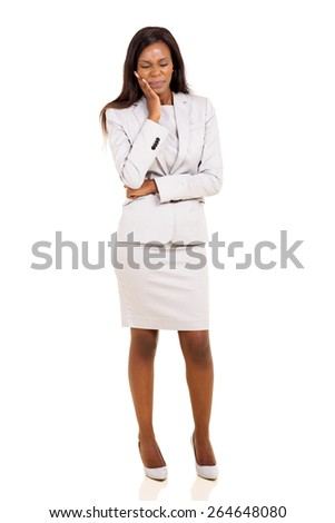african businesswoman having toothache isolated on white background - stock photo
