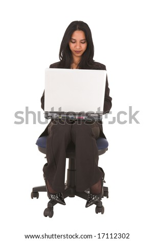 African businesswoman in black office outfit on a white background, NOT ISOLATED