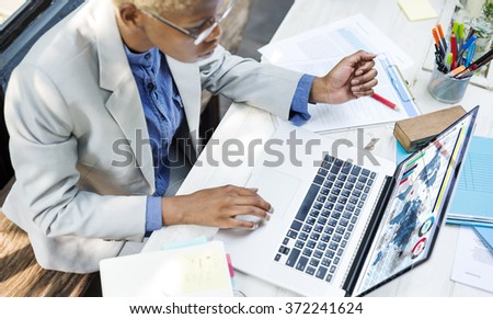 African Businesswoman Working Analysis Business Concept