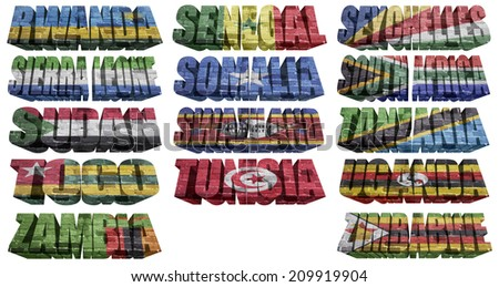African countries (From R to Z) flag words on a white background - stock photo