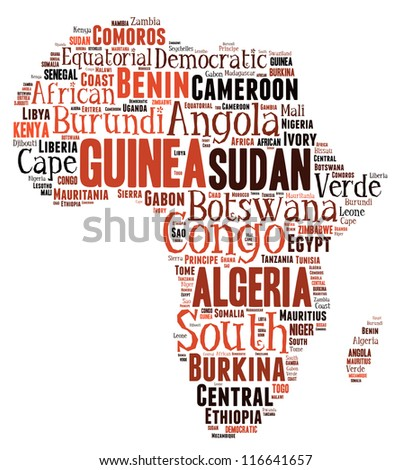 African countries in word collage