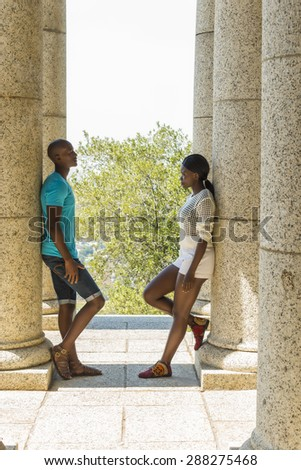 African couple having an argument on date - stock photo