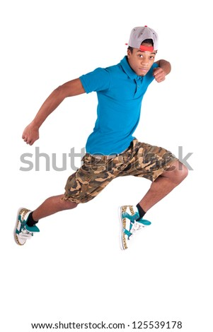 African dancer breakdance isolated over white background