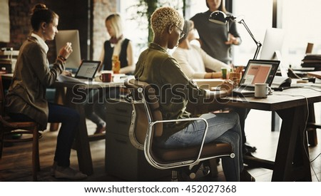 African Descent Brainstorming Working Workplace Concept - stock photo