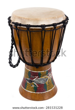 african djembe drum isolated over a white background  - stock photo