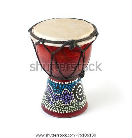 African Djembe Drum on a white background - stock photo
