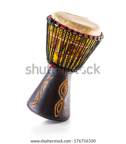 African drum isolated on white - stock photo