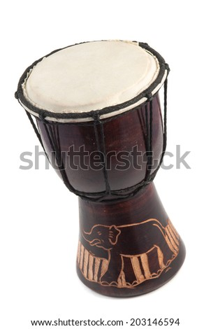 African drums isolated on white background - stock photo