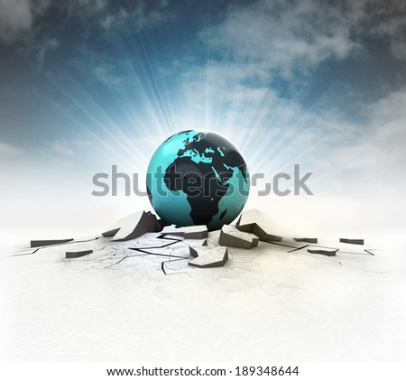 African earth globe stuck into ground with flare and sky illustration - stock photo