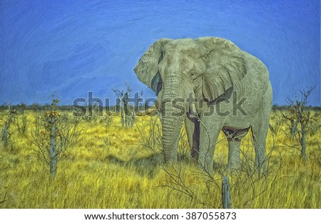 African elephant large bull in Etosha National Park,digital oil painting