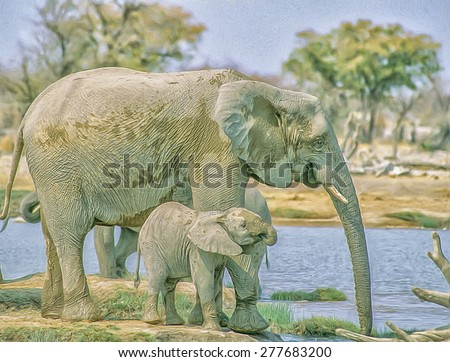 African elephant with her calf drinking at Etosha waterhole, photo art - stock photo