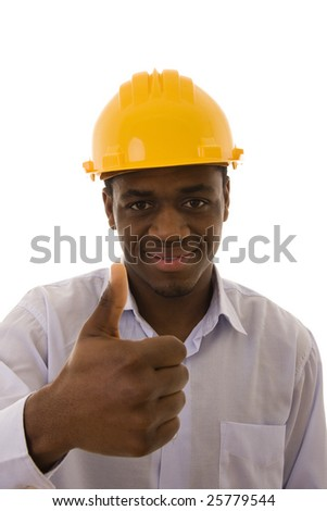 African engineer giving the thumb-up sign (focus on the head)