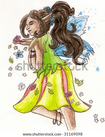 African Fairy with dark skin tones drawn with colored pencils. - stock photo