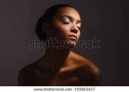 african female  woman, pretty sensual portrait, color