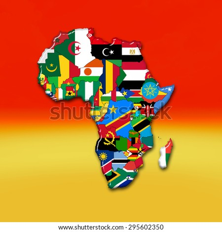 African flags,maps, continent , and red  yellow color background