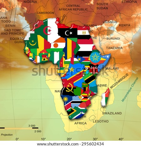 African flags,maps, continent ,sun,sky and african map background - stock photo