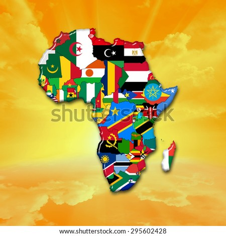 African flags,maps, continent ,sun,sky and clouds background - stock photo