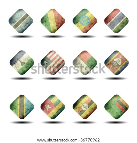 african flags set - cube version - part 2 - stock photo