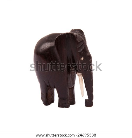 African folk art wooden carving elephant - stock photo