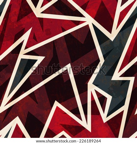 african geometric seamless pattern with grunge effect (raster version) - stock photo