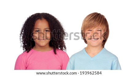 African girl and Caucasian boy isolated on a white background - stock photo