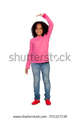 African girl measuring what has grown isolated on white background - stock photo